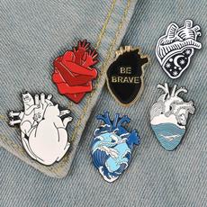 Heart, oceanwavebrooch, baghatdecoration, Bags