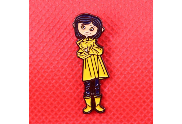 Horror Movie Coraline Brooches Cute Kids Dragonfly Hair Clip Butterfly Crystal Hair Comb Brooch Pin Girls Women Jewelry Gift Wish