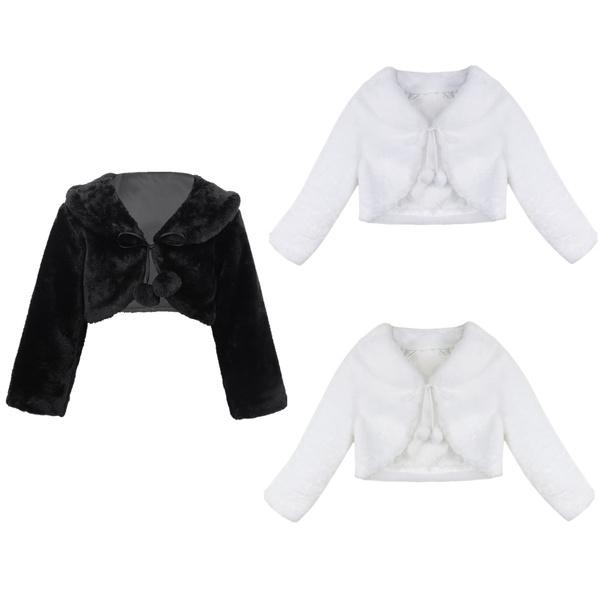 Child Jacket Faux-Fur Outwear Kids Flower Girls Jackets Long Sleeves Bolero