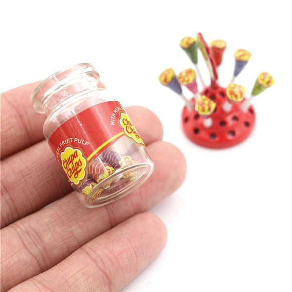 1:12 Dollhouse Miniature Simulation Food Mini Lollipop With Case Holder BLUS