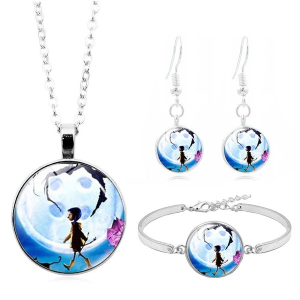 Coraline Time Gem Glass Cabochon Fashion Jewelry Set Silver Necklace Bracelet Earring Jewelry Sets For Women Gifts Wish