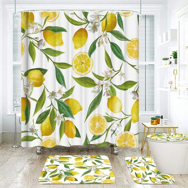 Bathroom Accessories, nonslipmat, Waterproof, flowersshowercurtain