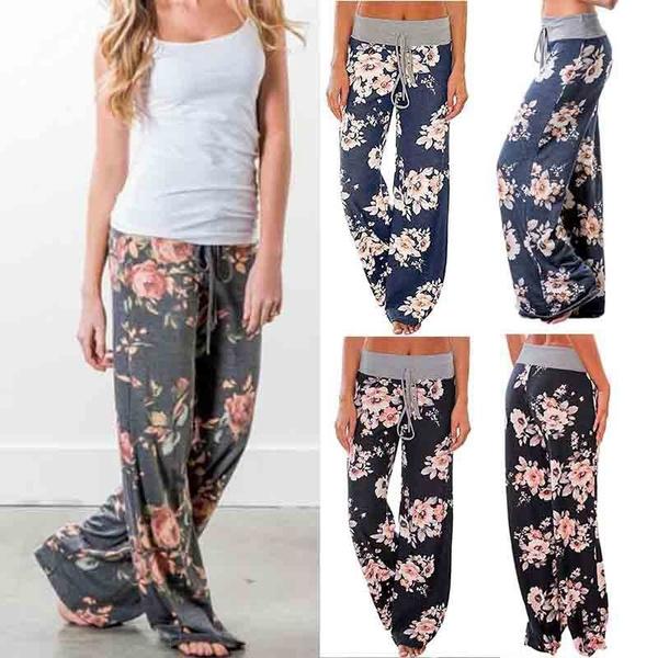 elastic waist, Floral print, high waist, pants