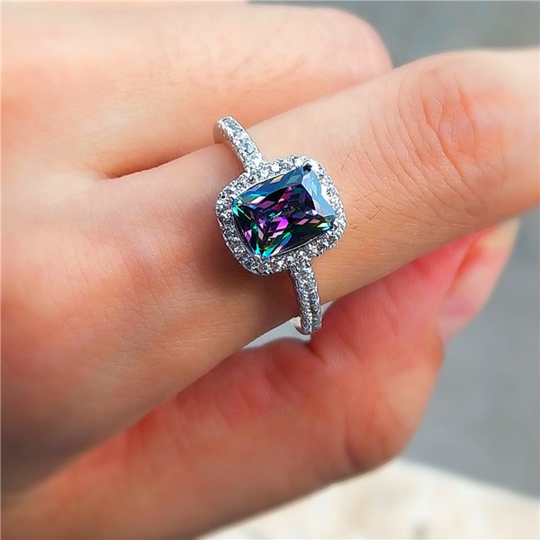 Fashion Rainbow Topaz Silver Ring Princess Cut Wedding Jewelry Gift
