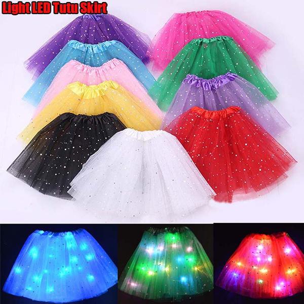 FATTERYU Kids Girls LED Light Up Glitter Star Sequins Ballet Dance Tulle Tutu Skirt 3-12T Green