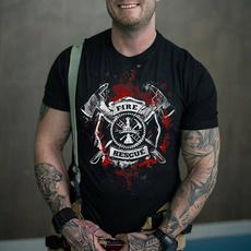 Tops & T-Shirts, Cotton T Shirt, Sleeve, firefightershirt