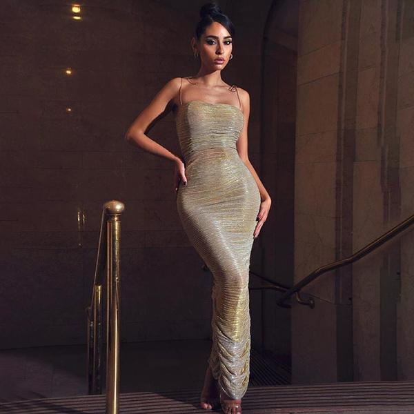 sleeveless, Fashion, gold, long dress