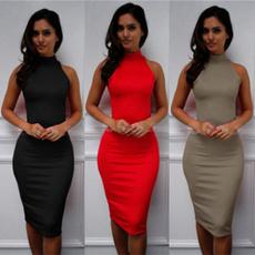 slim dress, fashion women, Elastic, Simple