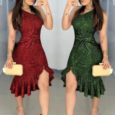 women dress, Fashion, ruffled, one-shoulder