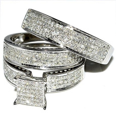 Sterling, White Gold, Engagement Wedding Ring Set, 925 sterling silver