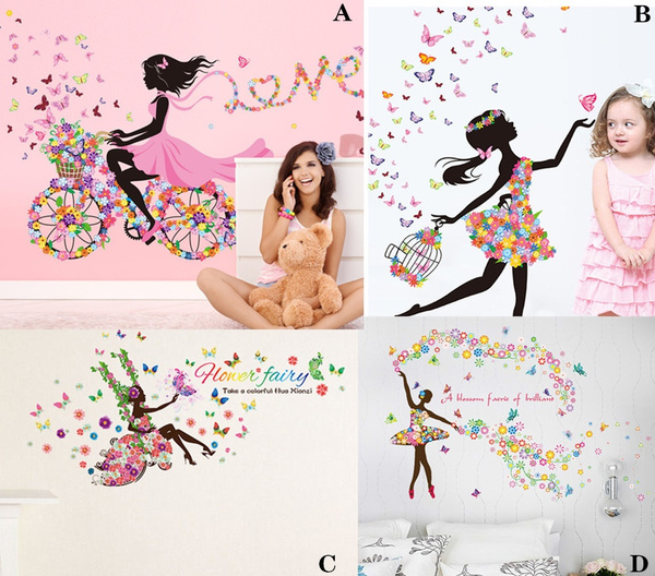 PVC wall stickers, Bikes, flowerfairywallsticker, Romantic