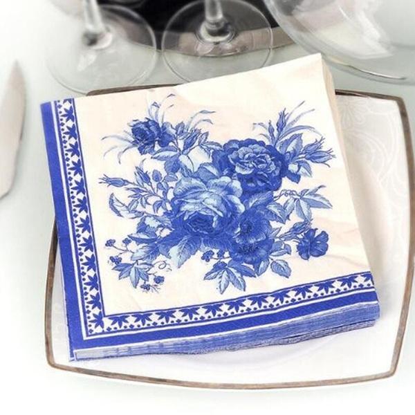 Blues, Decor, Flowers, papernapkin