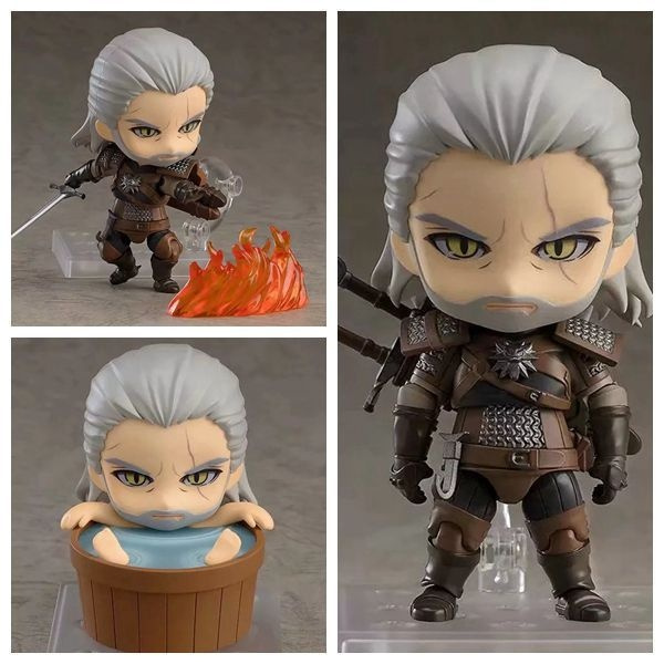 The Witcher 3 Wild Hun Geralt of Rivia Q ver Action Figure Toy 10cm PVC in Box
