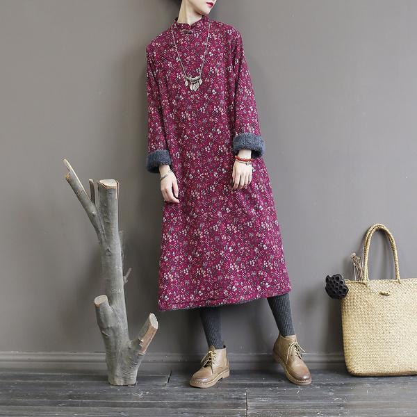 Cotton, fashion women, printeddres, velvet