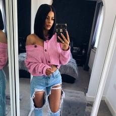 Fashion, Long Sleeve, womenvneckbuttonsknitcardigan, Women's Fashion