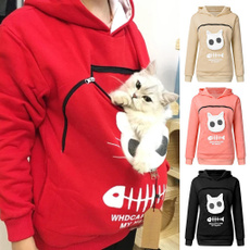blouse, animalpouch, hooded, Long Sleeve