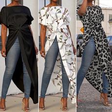 shirtsforwomen, Summer, Plus Size, asymmetric
