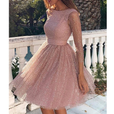 Long Sleeve, Pleated, backless dress, Elegant