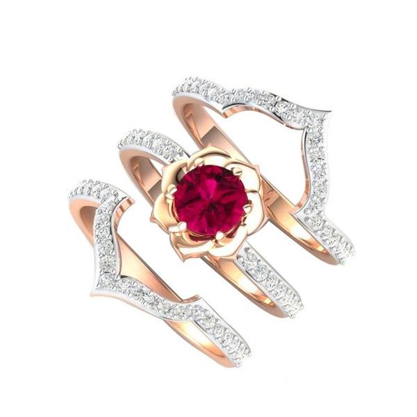 Engagement Wedding Ring Set, Love, gold, whitesapphireearring