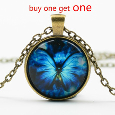butterfly, fly, Chain Necklace, cabochon