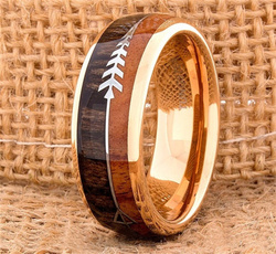 8MM, tungstenring, Fashion, Rose Gold Ring