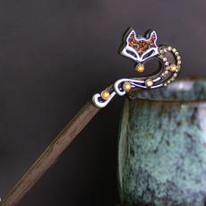 woodhairstick, Jewelry, rhinestonehairstick, Fox