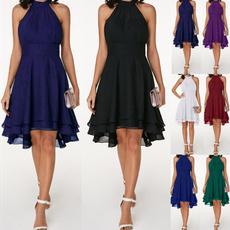 Sleeveless dress, Plus Size, high waist, chiffon