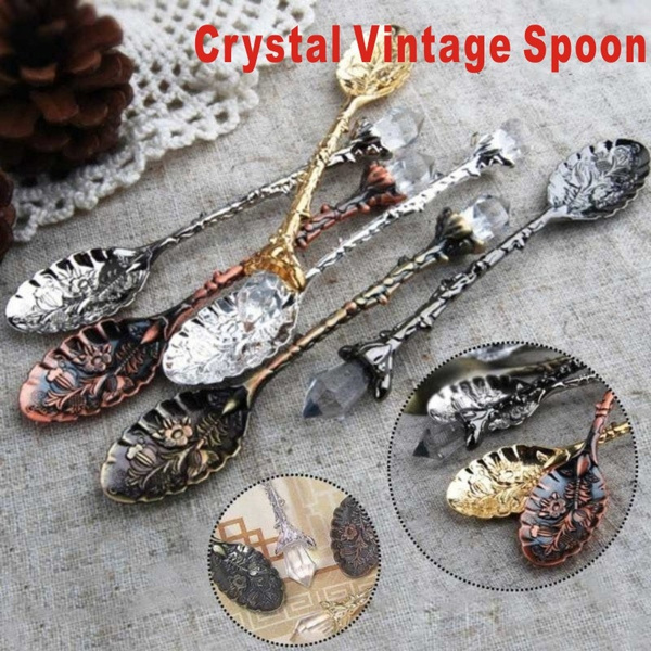 Crystal Head Retro Pattern Coffee Cakes Soup Coffee Stirlet Small Spoons ME