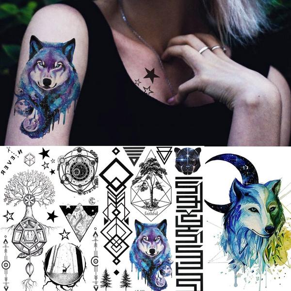 1 Piece Geometric Planets Triangle Vase Triangle Temporary Tattoos For Women Men Kids Body Art Arm Back Tatoo Paper Waterproof Fake Tattoo Sticker Black Tatoos Wish
