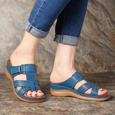 Flats, Slip-On, sandalslipper, Hollow-out