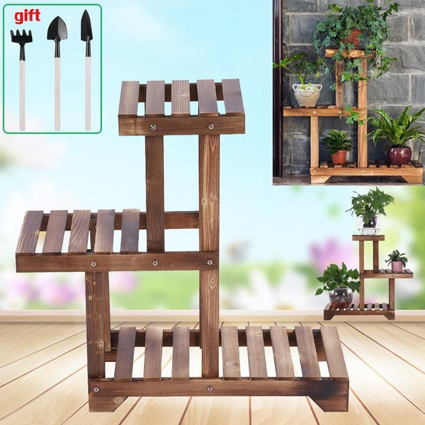 3 Tier Wood Flower Rack Plant Stand Wood Shelves Bonsai Display Shelf Indoor Wish