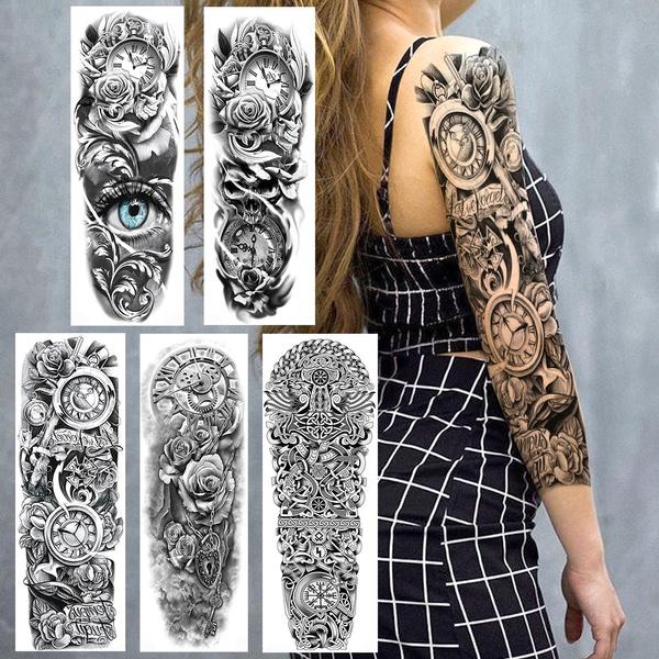 tattoo, Flowers, art, Sleeve
