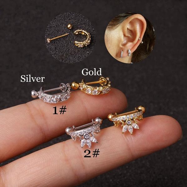 Steel, Hoop Earring, cartilageearstud, Jewelry