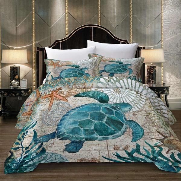 seaturtlebedding, beddingkingsize, turtlebeddingset, Turtle