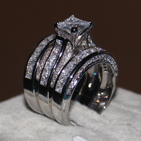 Sterling, White Gold, DIAMOND, Princess