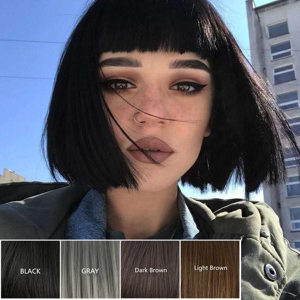 wig, brown, black, Shorts