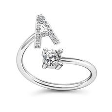 adjustablering, Jewelry, Simple, alphabetring