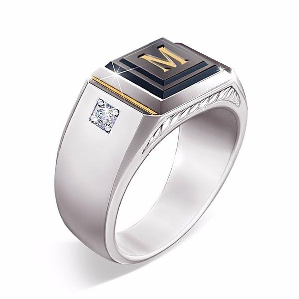 Sterling, Goth, crystal ring, wedding ring