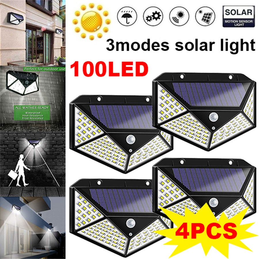 100 LED Solar Lights Outdoor 2000 Lumens Waterproof Wireless Motion Sensor 2 Pc