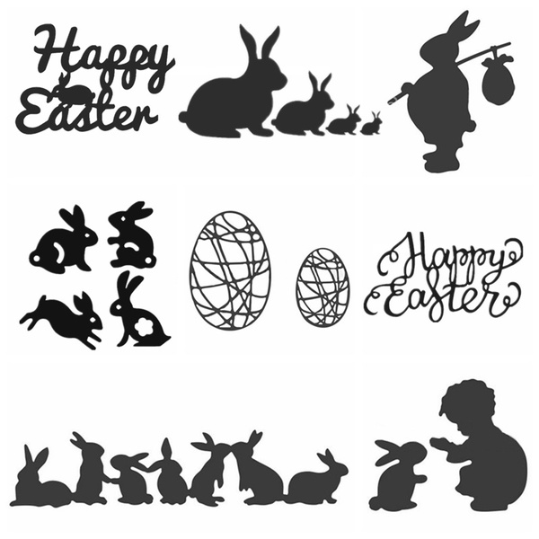 Happy Bear Rabbits Deer Mice Metal Cutting Dies and Matched Gel Stamp Set Stamping Dies cuts for Card Making Christmas Wishes and Greetings Stamping DIY Scrapbooking Card Crafts Stencil Template Mold