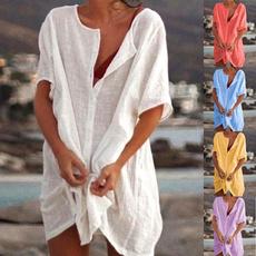 Deep V-Neck, Plus Size, Dress, short sleeves