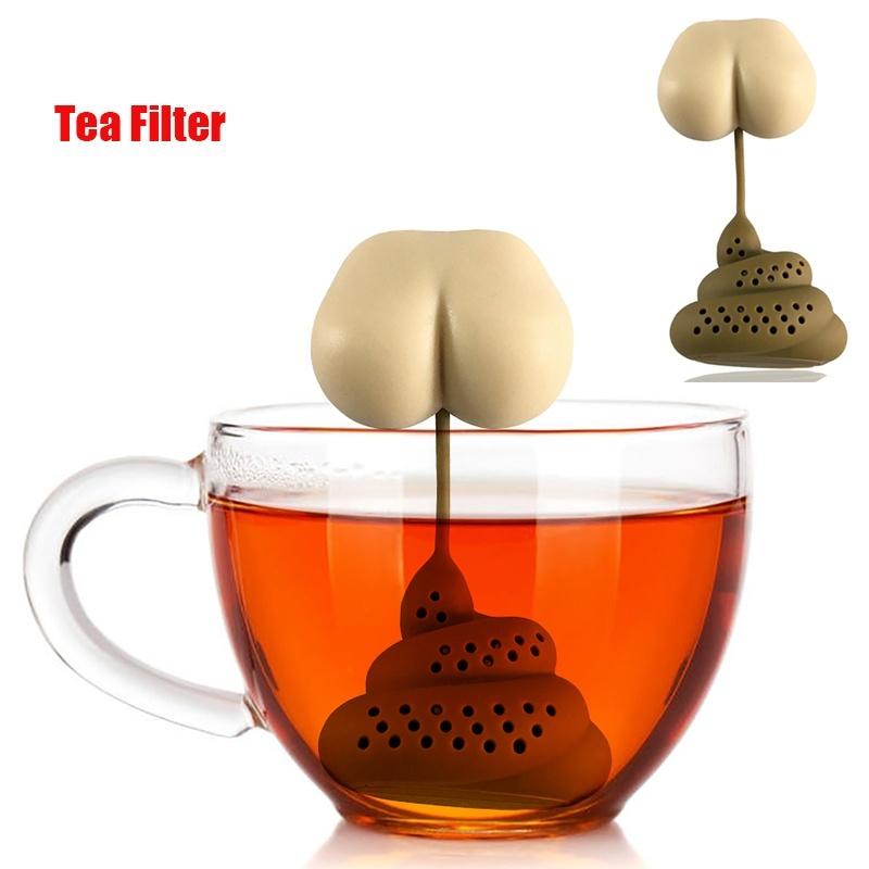 Poo Turd Shape Silicone Tea Strainer Filter Infuser Prank Trick Prop Drink Tool