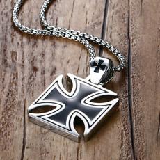 Steel, Men  Necklace, punk necklace, Cross necklace