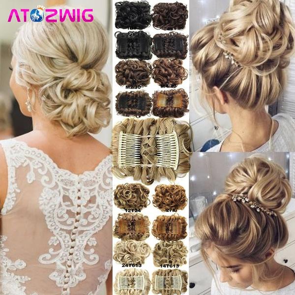 fakebunhairpiece, hair, Women's Fashion & Accessories, chignonbunforwedding