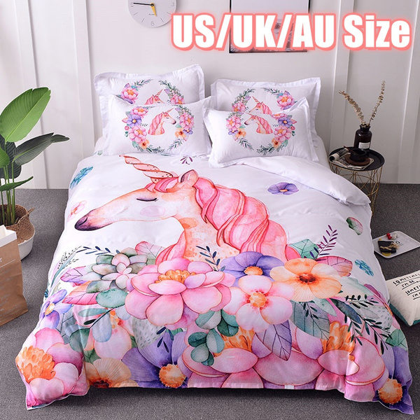 New Unicorn 3d Pink Flower Print Duvet, Pink Unicorn Bedding Twin