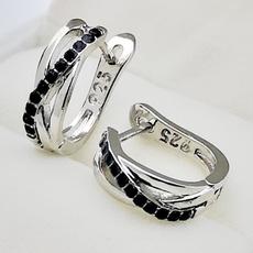 Sterling, Black Earrings, Stud, Sapphire