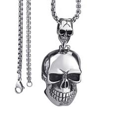 Steel, doubleskullsnecklace, necklaces for men, punk necklace