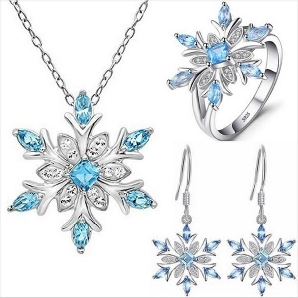 Blues, Sterling, DIAMOND, snowflakenecklace
