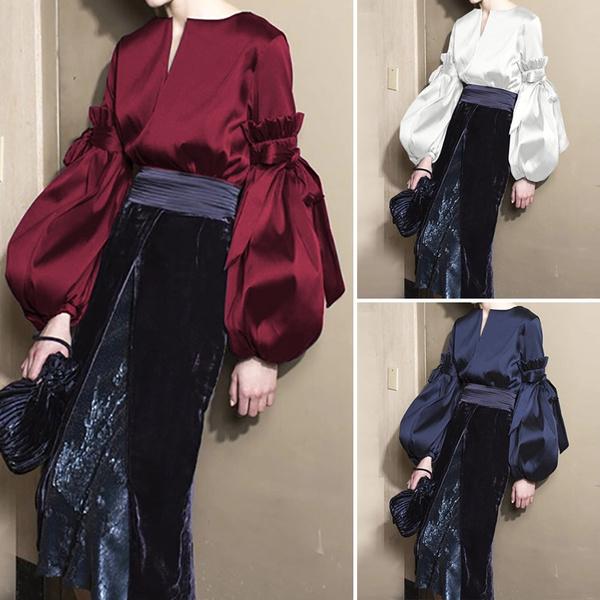 blouse, springfashionwomen, silksatin, Sleeve