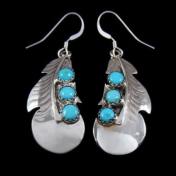 Silver and turquoise chandelier earrings style ethnic jewelry ethnic earrings